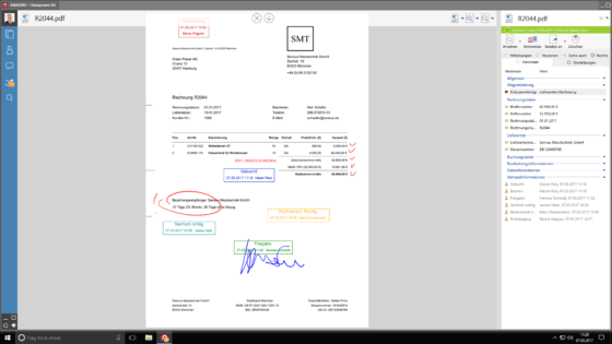 papierloses büro Dokument